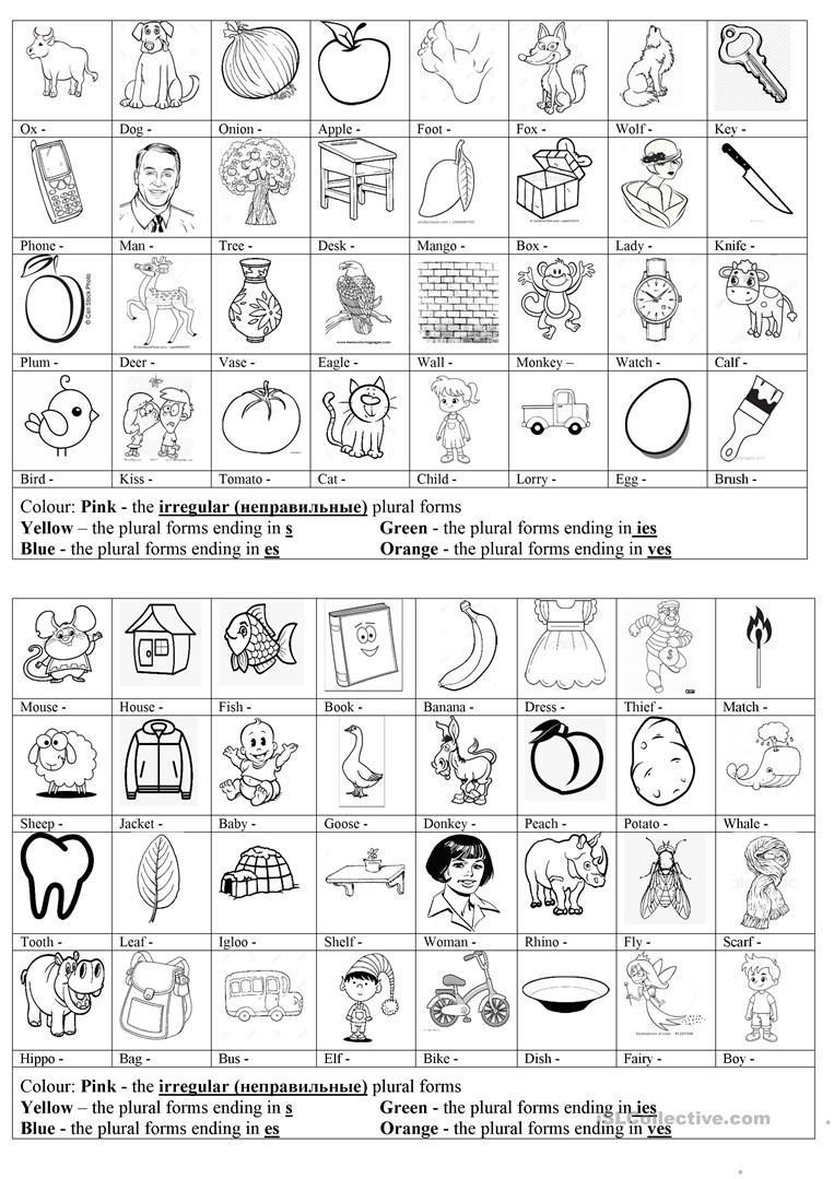 Singular Possessive Nouns Worksheet Plurals Of the Nouns Coloring Task English Esl Worksheets