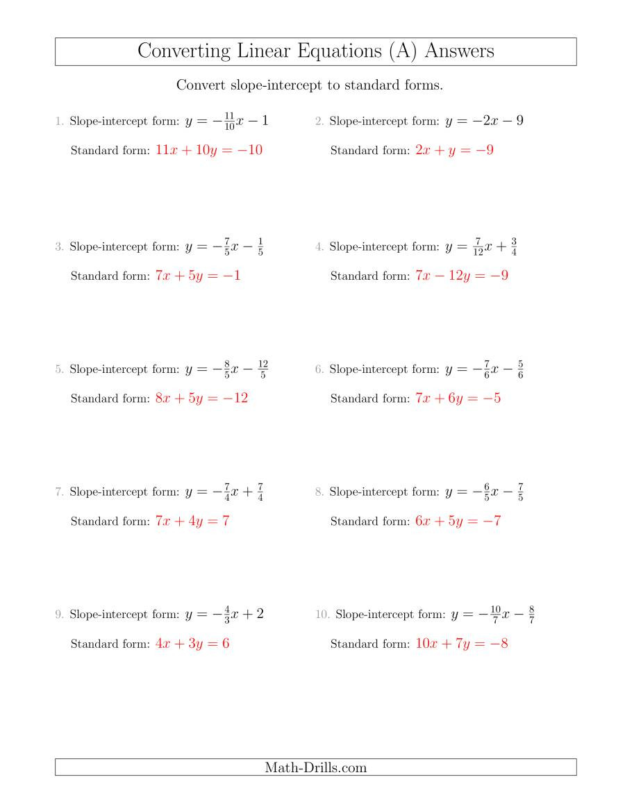Slope Intercept form Worksheet Converting From Slope Intercept to Standard form A