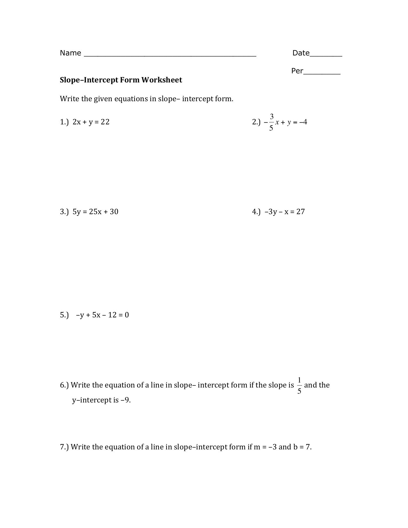 Slope Intercept form Worksheet Slope–intercept form Worksheet