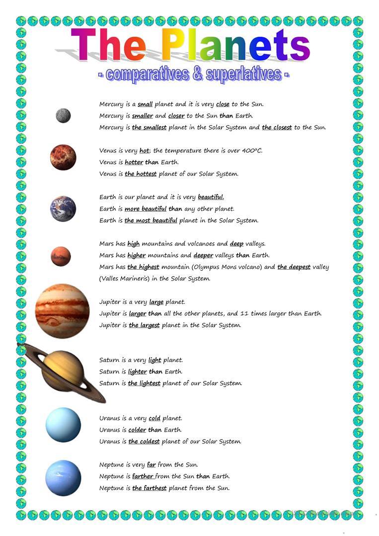 Solar System Worksheet Pdf the Planets Parative & Superlative English Esl