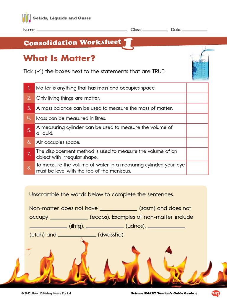 Solid Liquid Gas Worksheet Alston Worksheet solid Liquid Gas Matter