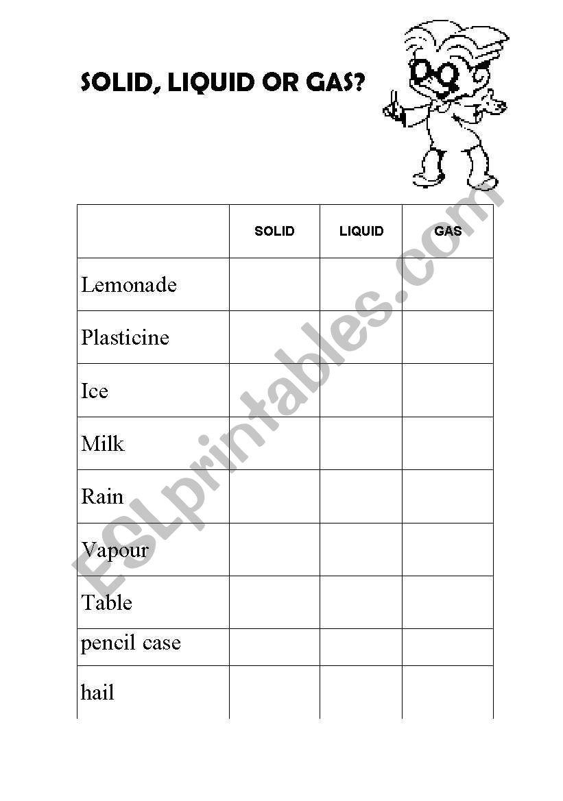 Solid Liquid Gas Worksheet English Worksheets solid Liquid or Gas