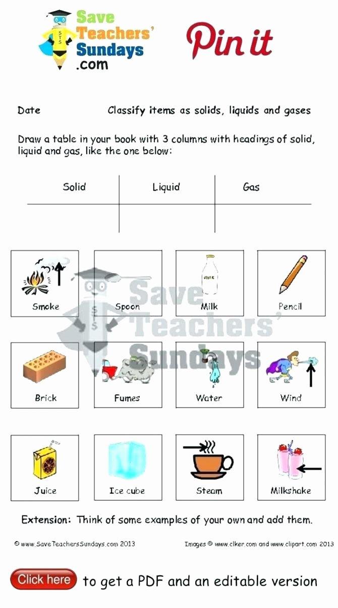 Solid Liquid Gas Worksheet Pin On Worksheet for Kindergarten
