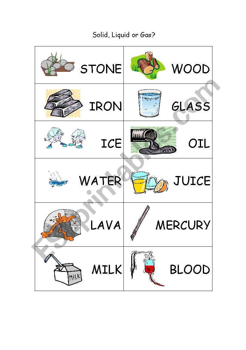 Solid Liquid Gas Worksheet solid Liquid Gas Esl Worksheet by Mariopi