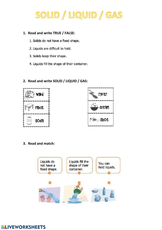 Solid Liquid Gas Worksheet solid Liquid Gas Interactive Worksheet
