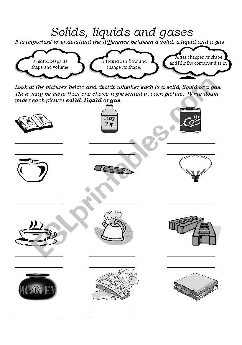 Solid Liquid Gas Worksheet solids Liquids and Gases Esl Worksheet by Fghanna
