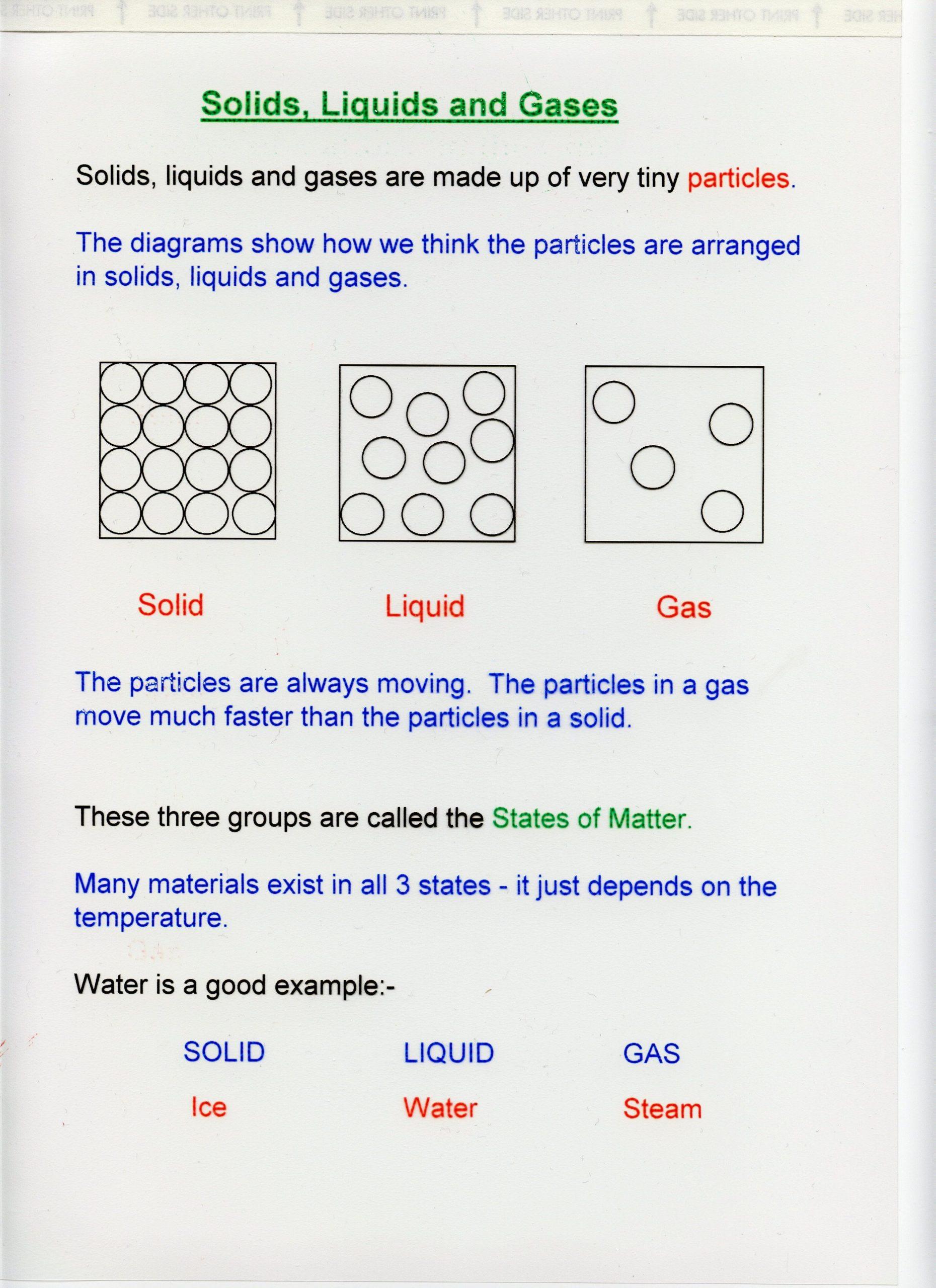 Solid Liquid Gas Worksheet solutions