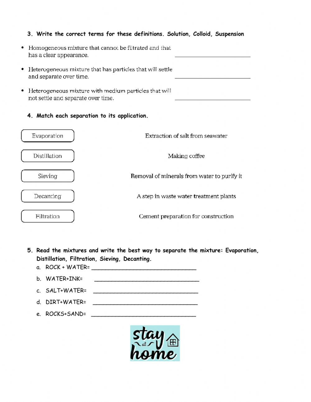 Solutions Colloids and Suspensions Worksheet Mixes and Separation Methods Interactive Worksheet