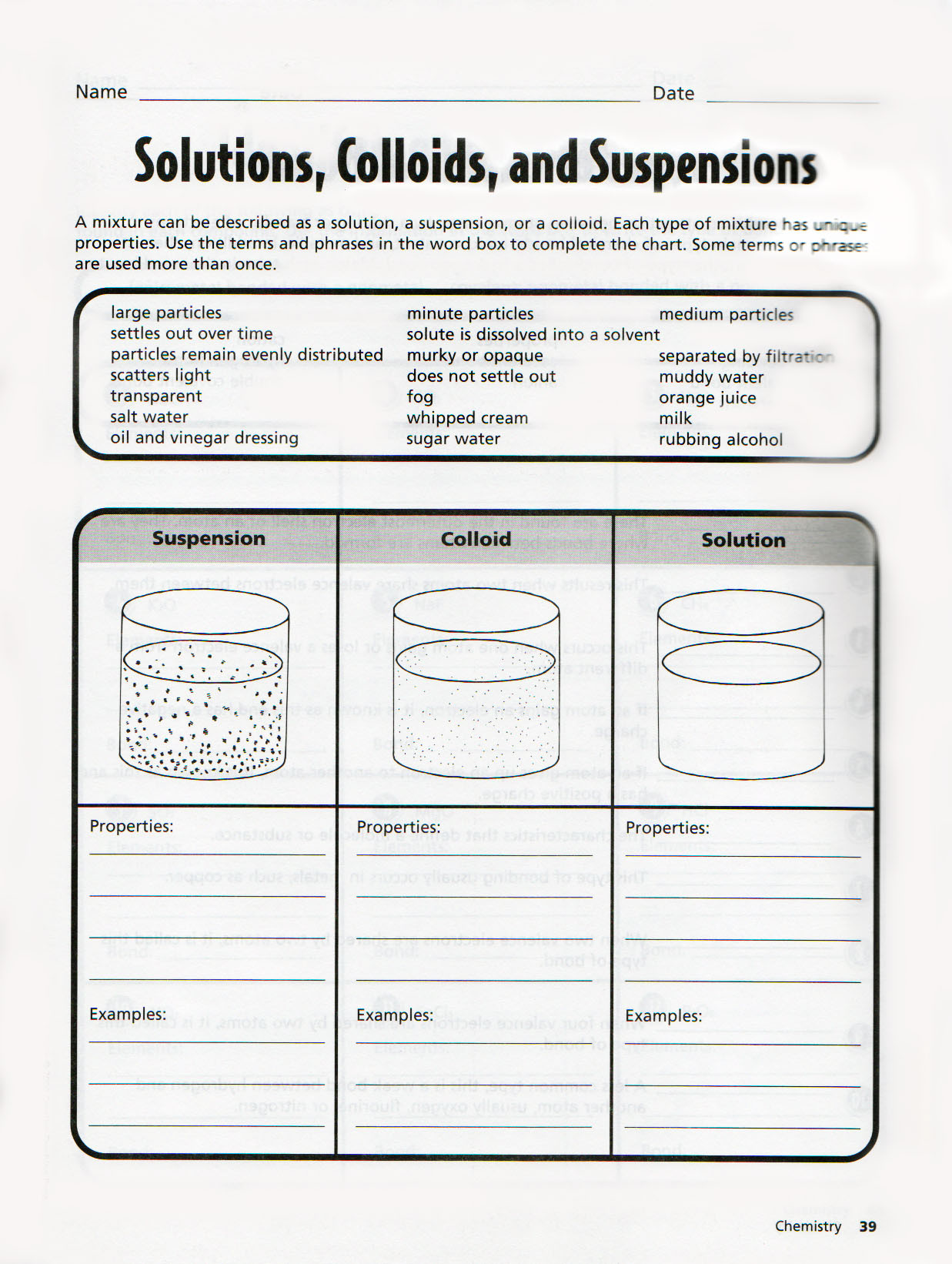 Solutions Colloids and Suspensions Worksheet tomasino S Class