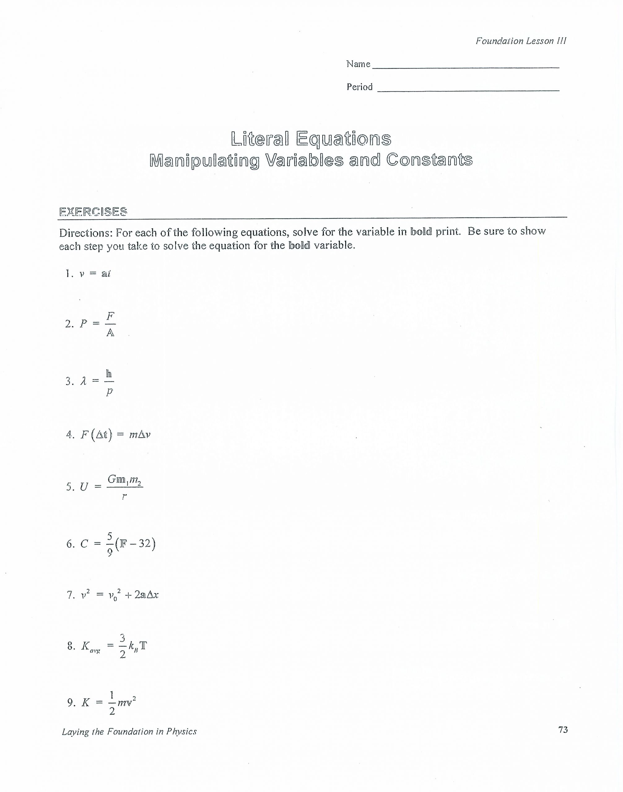 Solve Literal Equations Worksheet Ze 4370] Physics Fall 2011 Ms Foxlent Wiring Diagram