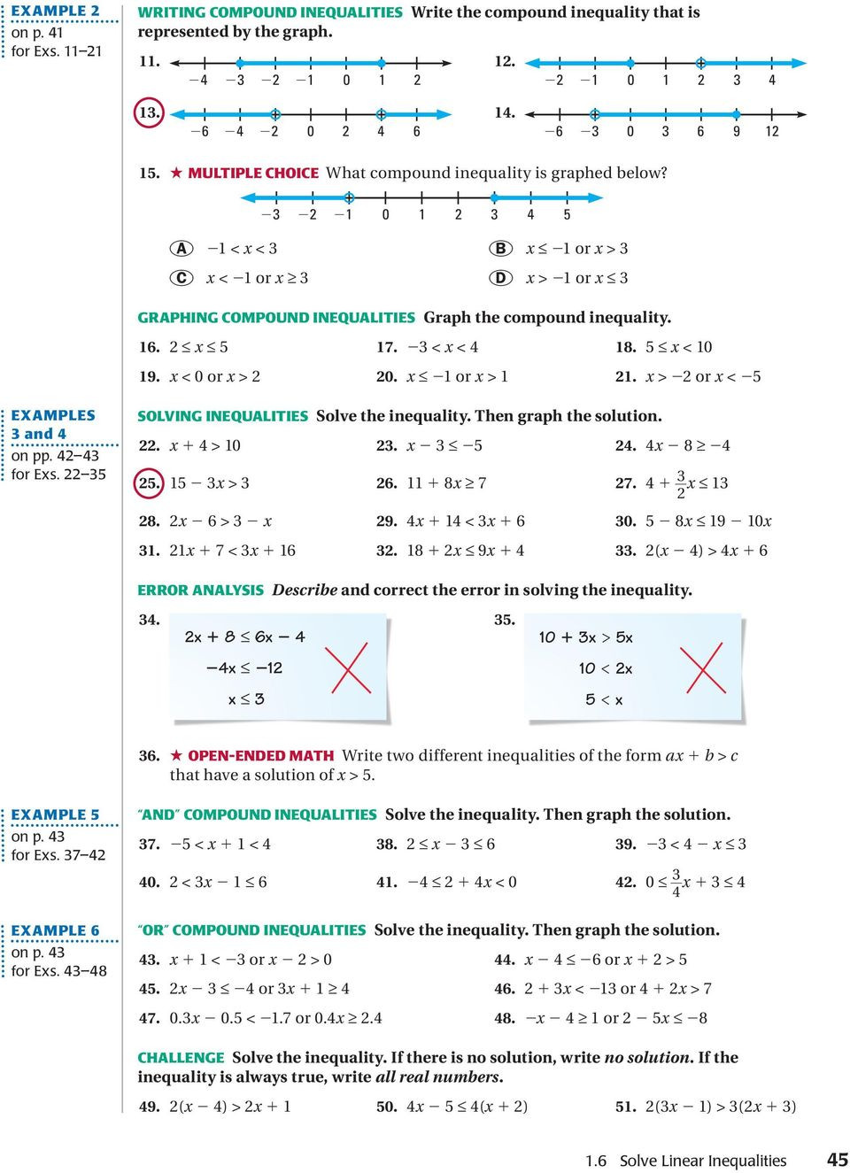 Solving Compound Inequalities Worksheet 1 6 solve Linear Inequalities E Xample 1 E Xample 2 Graph