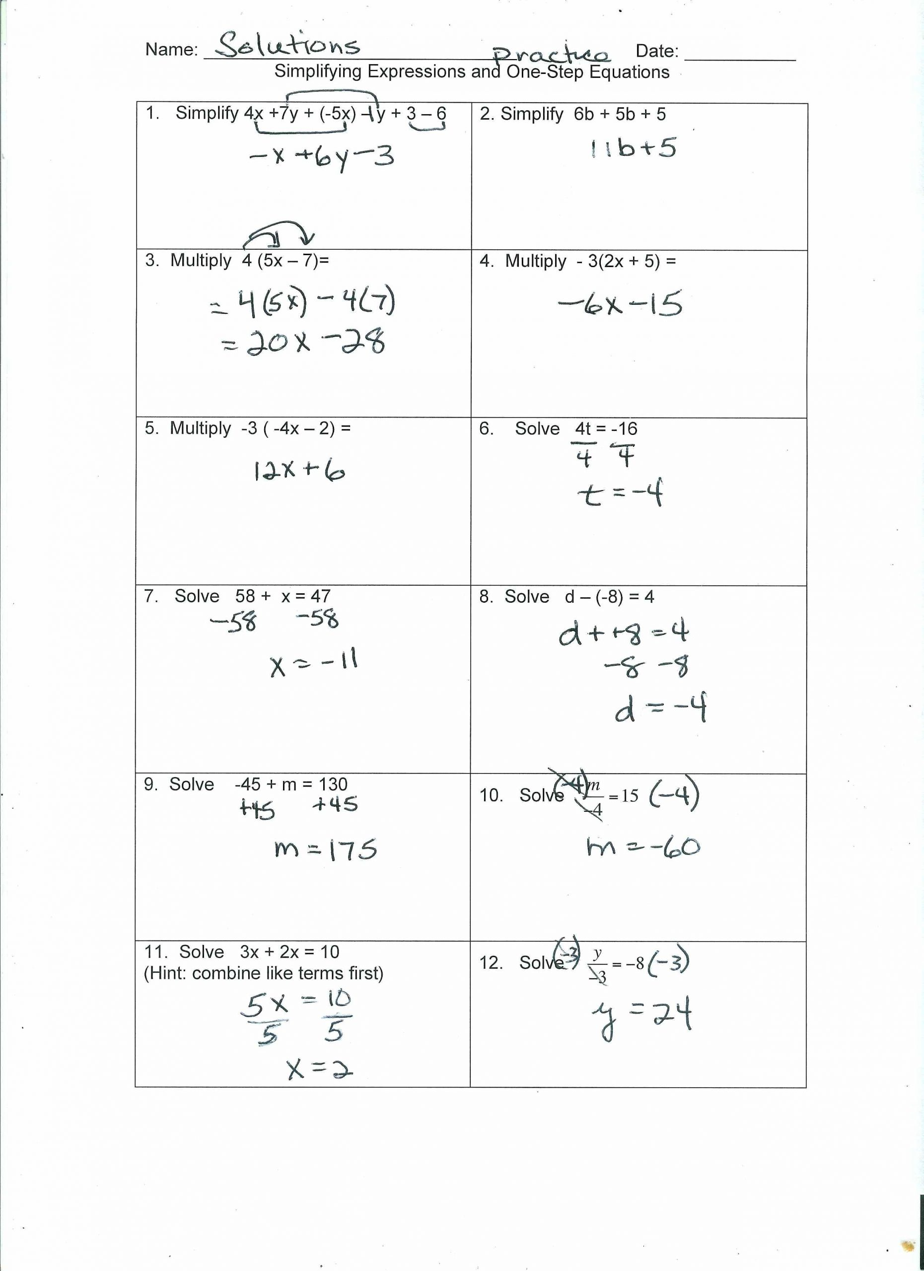 Solving Equations with Fractions Worksheet solving E and Two Step Equations Worksheet Pdf Tessshebaylo