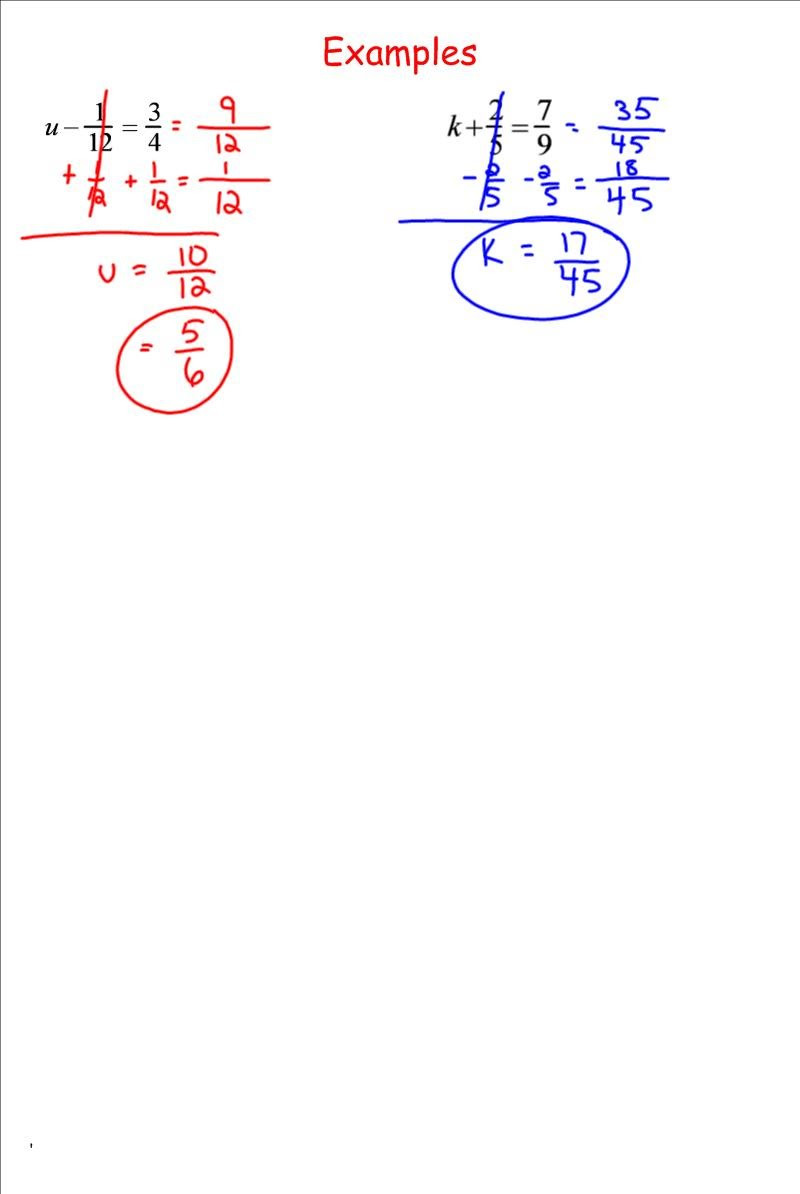 Solving Equations with Fractions Worksheet solving Equations by Adding and Subtracting Fractions 7th