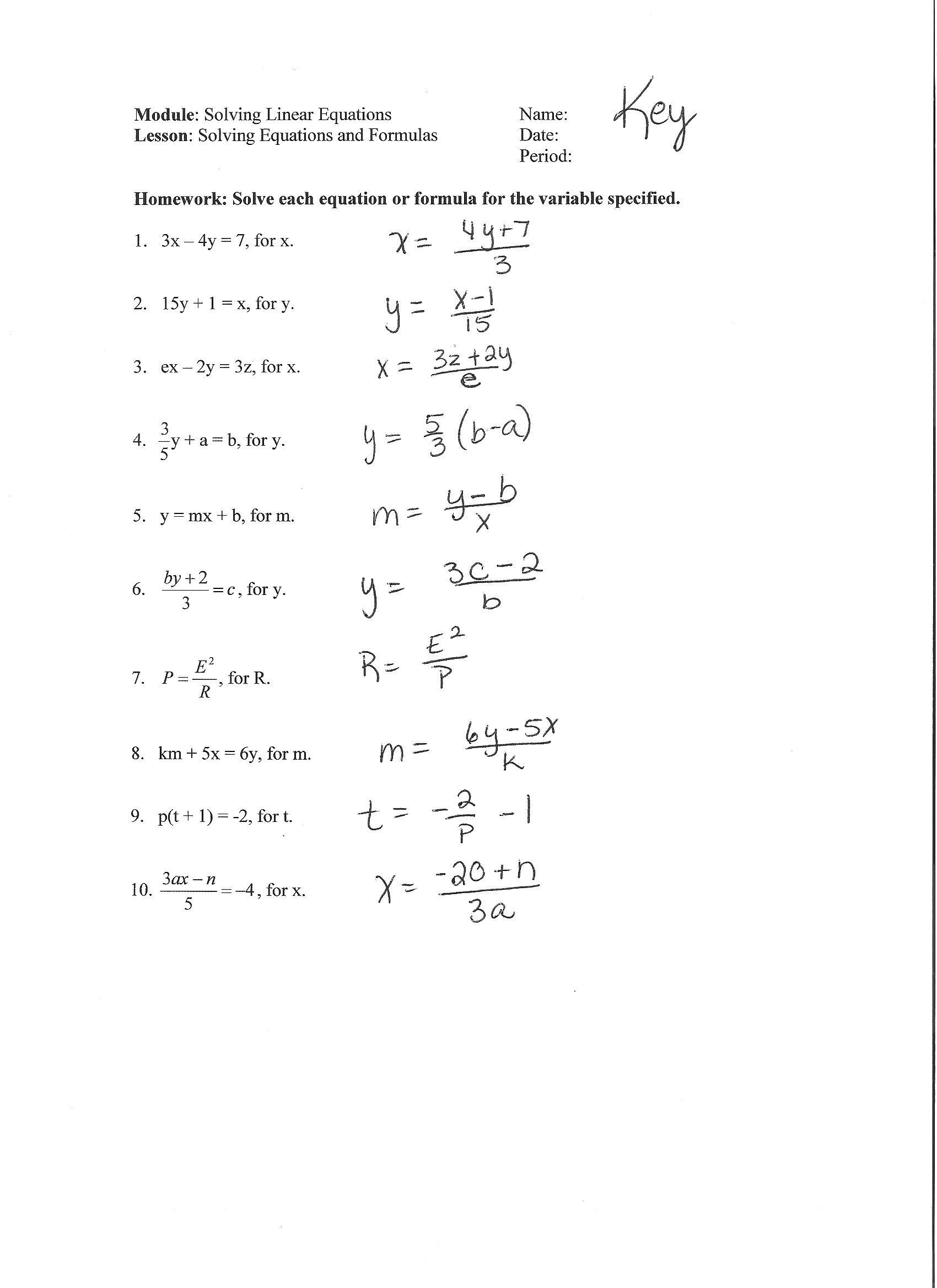Solving for Y Worksheet Alex