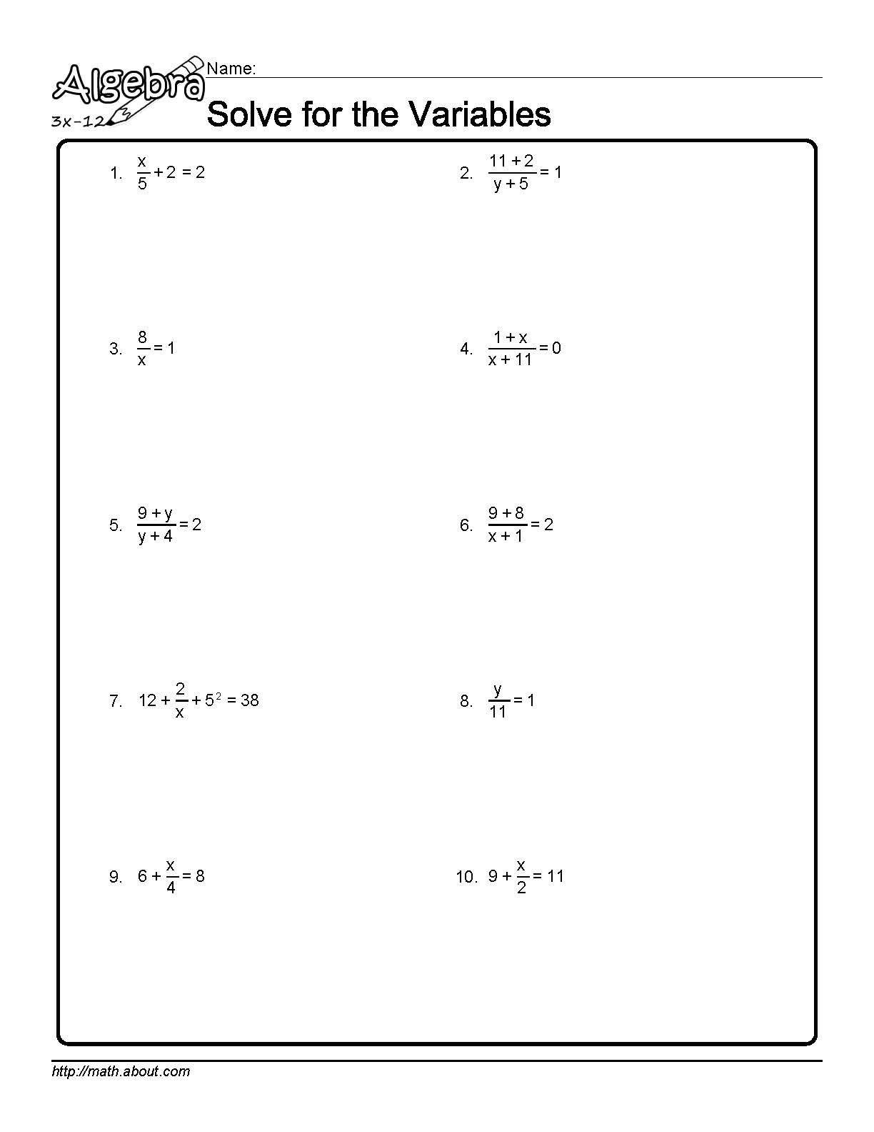 Solving for Y Worksheet solve for the Variables Worksheet 1 Of 10