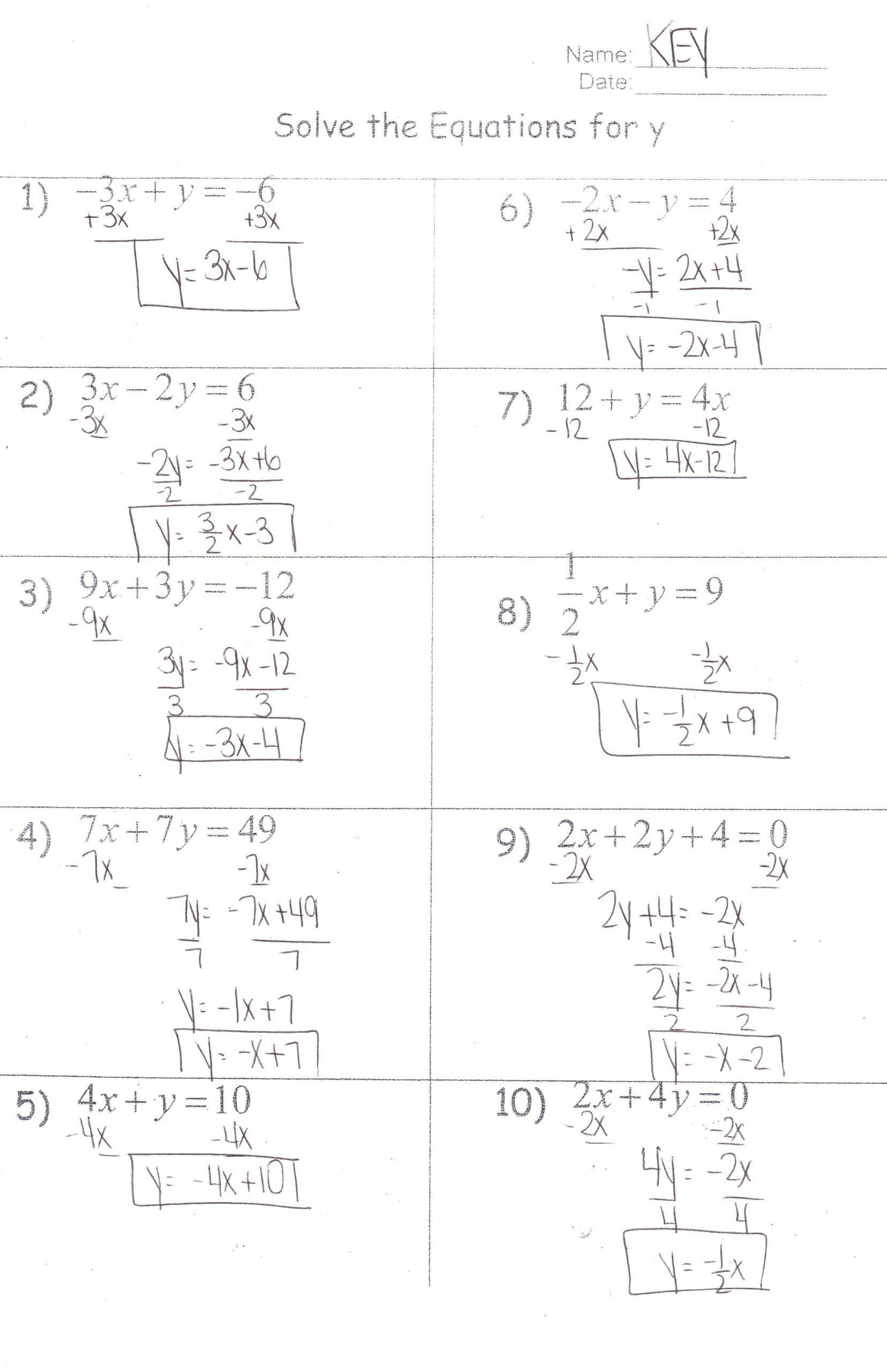 Solving for Y Worksheet Worksheets solve for Y Key Algebra I Honors Mrs Jenee