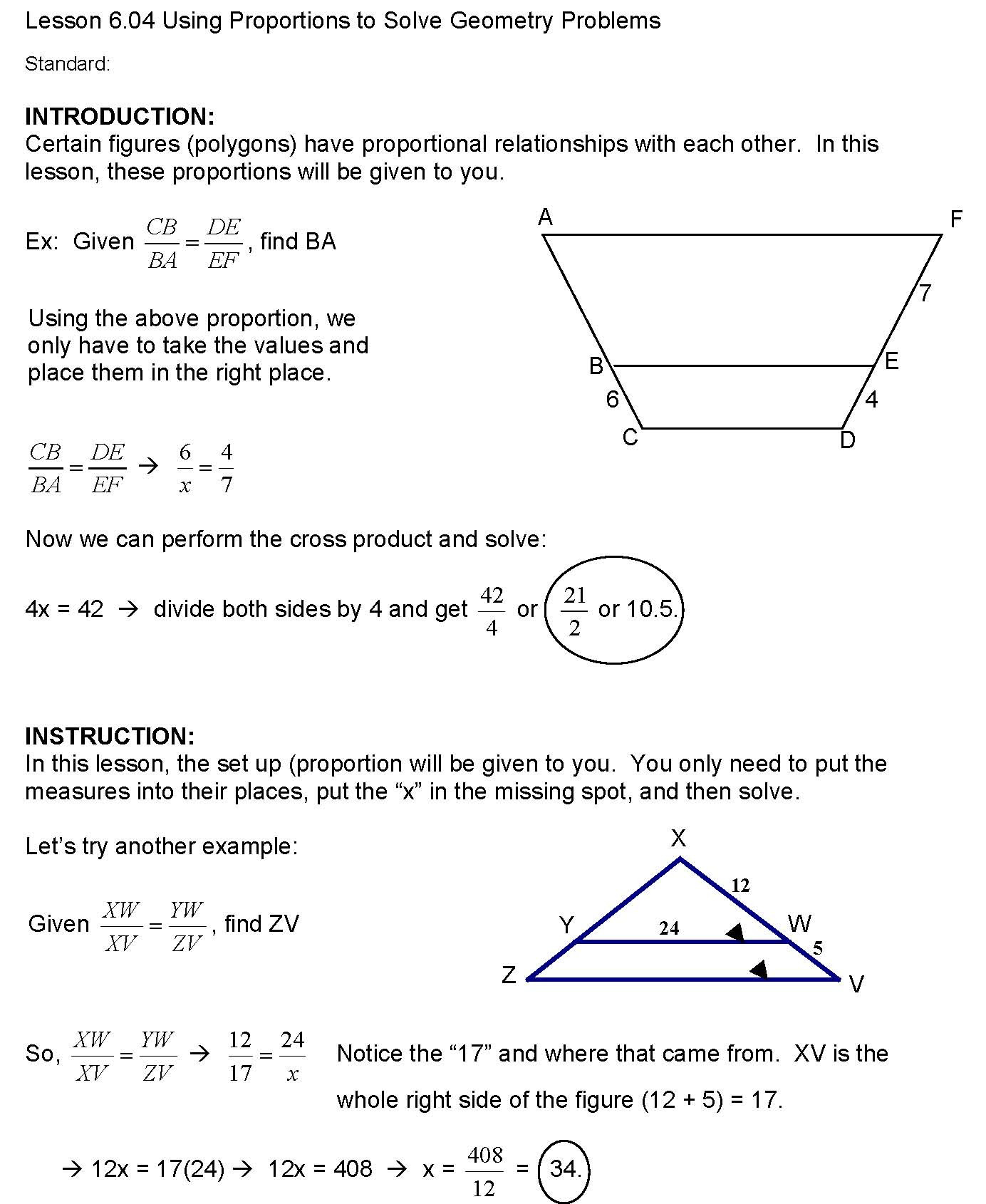Solving Proportions Worksheet Answers Cosgeometry Lesson 6 04 Using Proportions to solve