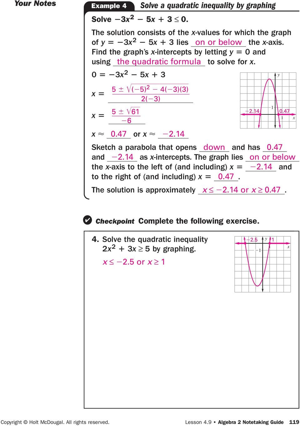 Solving Quadratic Inequalities Worksheet 4 9 Graph and solve Quadratic Pdf Free Download