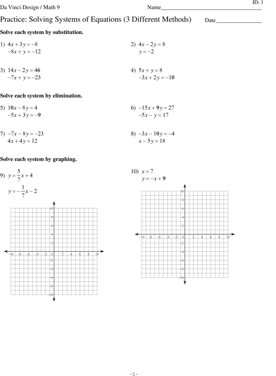 Solving System by Elimination Worksheet 3 1 Practice solving Systems Equations by Graphing Answer
