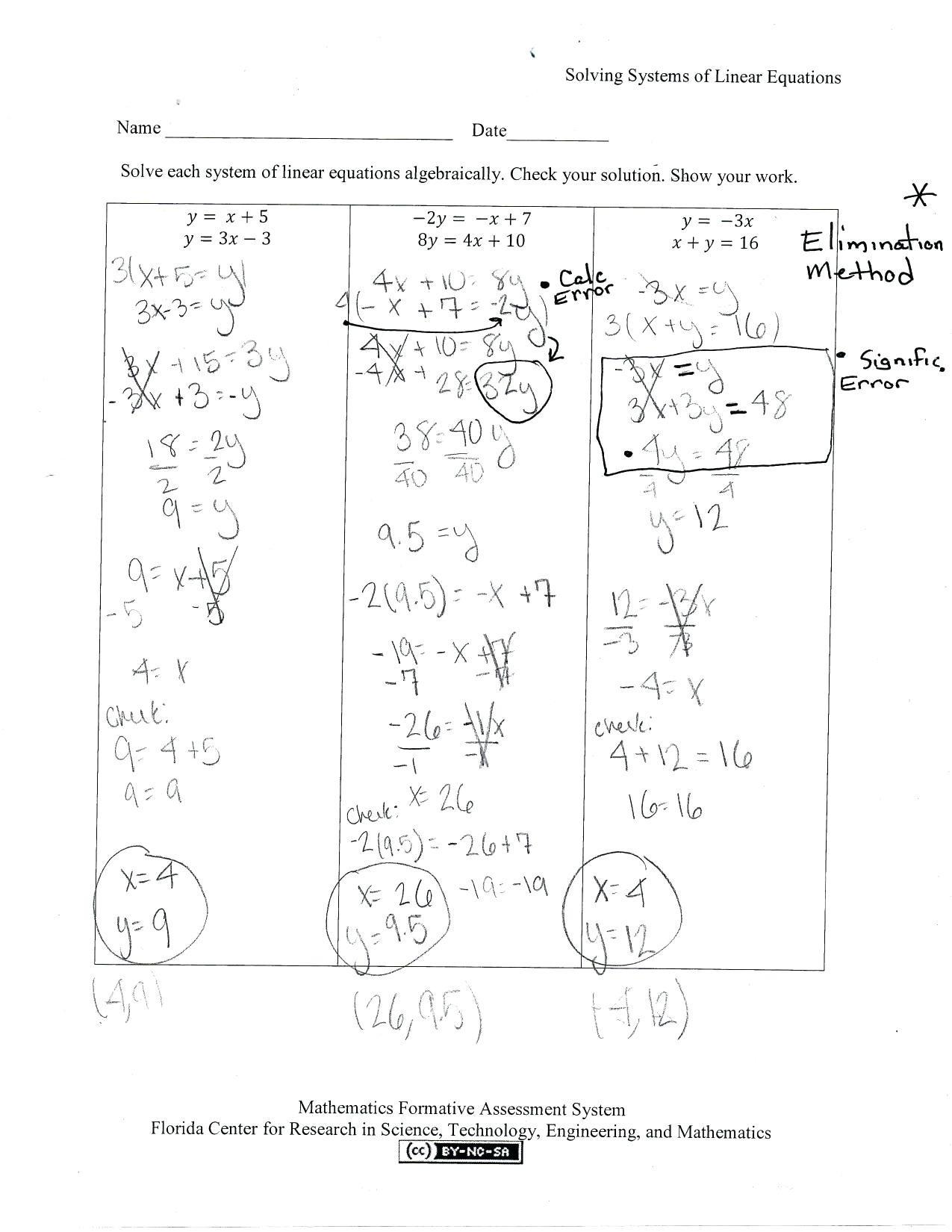 Solving System by Elimination Worksheet 3 Variable System Equations Worksheet Nidecmege