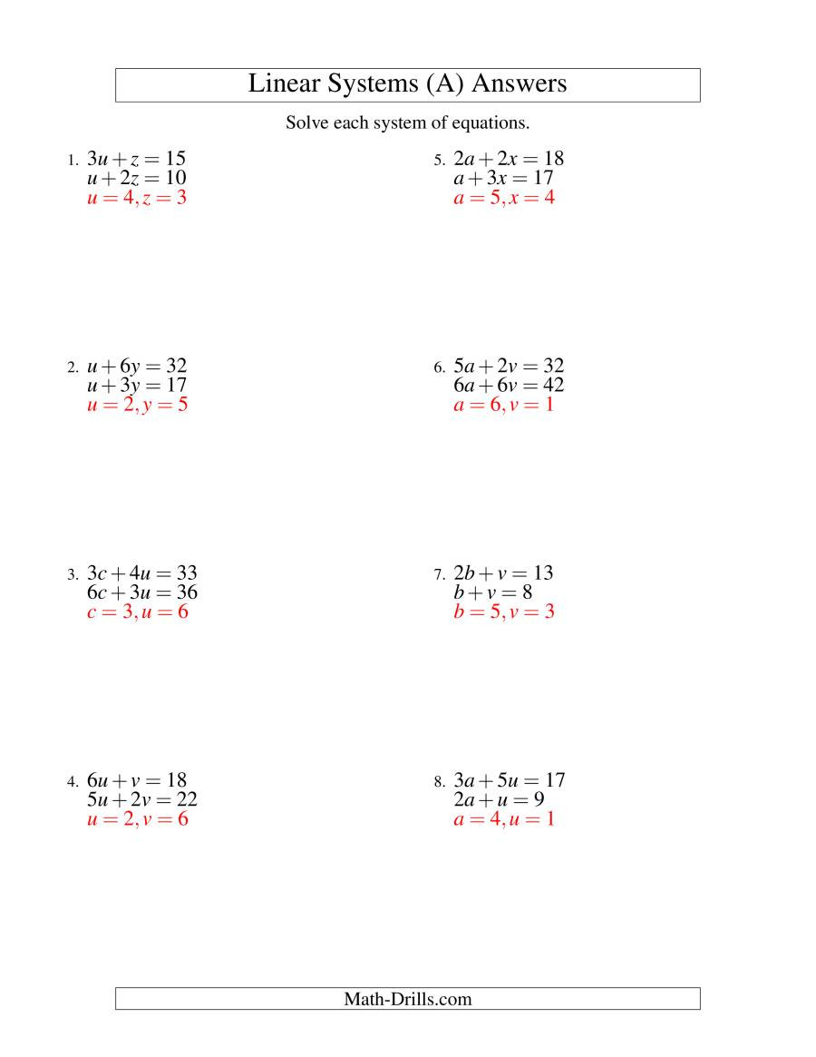 Solving System by Elimination Worksheet Systems Of Linear Equations Two Variables A