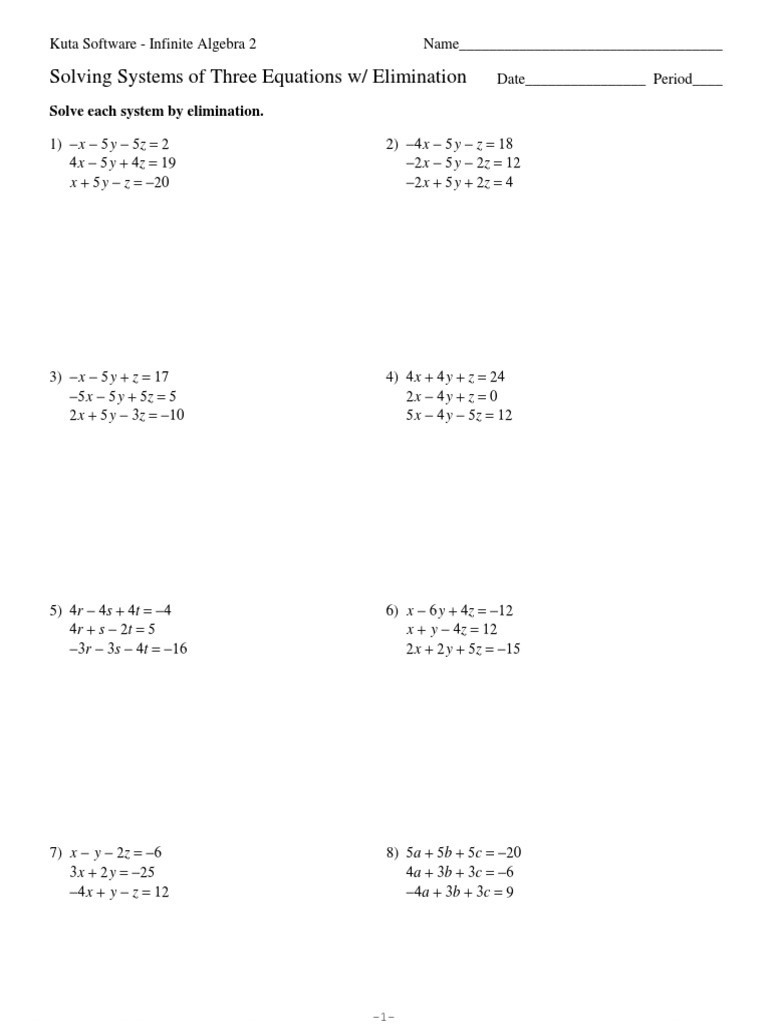 Solving System by Elimination Worksheet Systems Of Three Equations Elimination Pdf