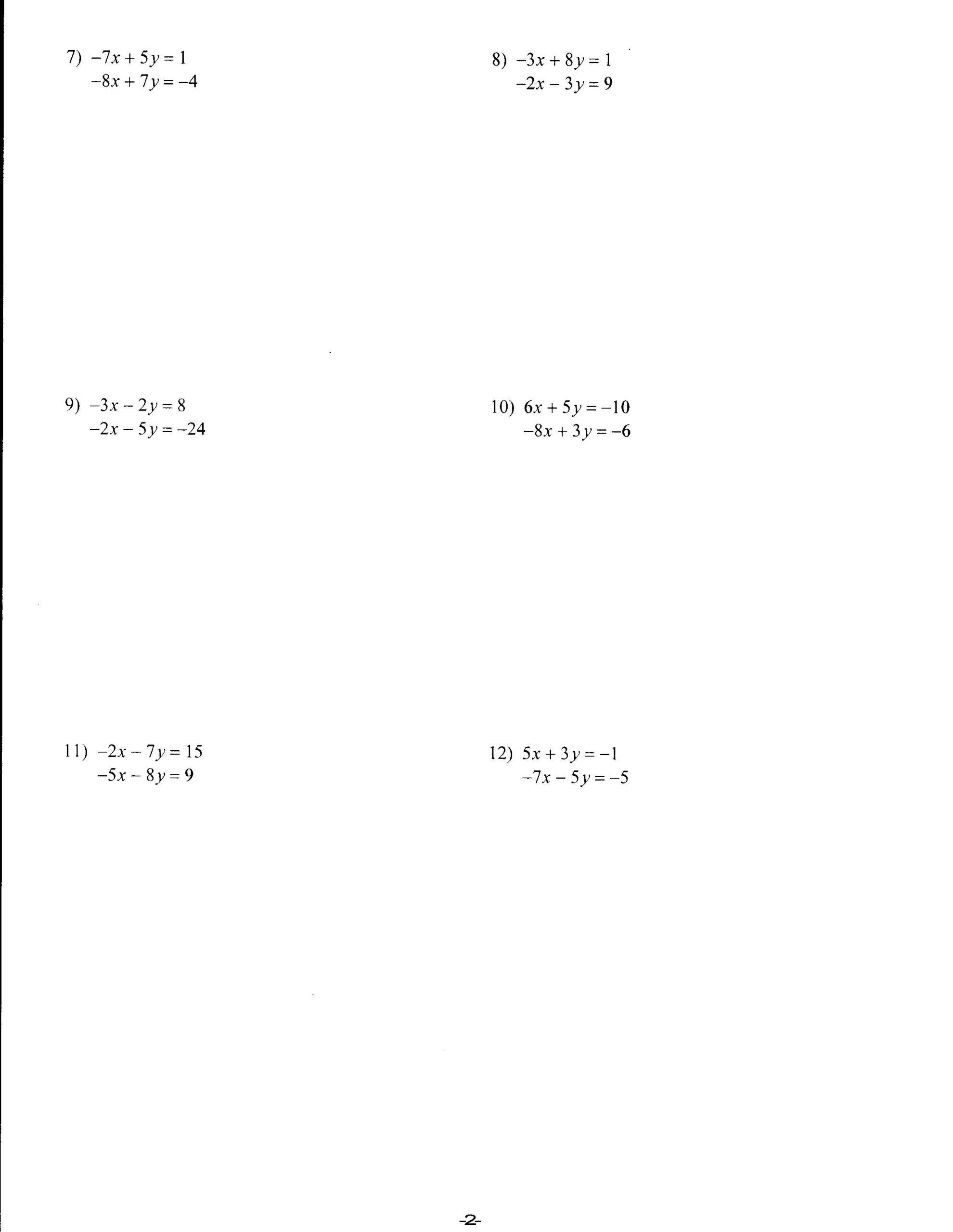 Solving System by Elimination Worksheet Worksheets Mrs Lay S Webpage 2011 12
