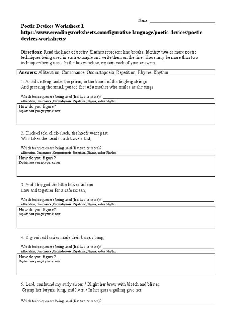 Sound Devices In Poetry Worksheet Poetic Devices Worksheet 01 Rhyme