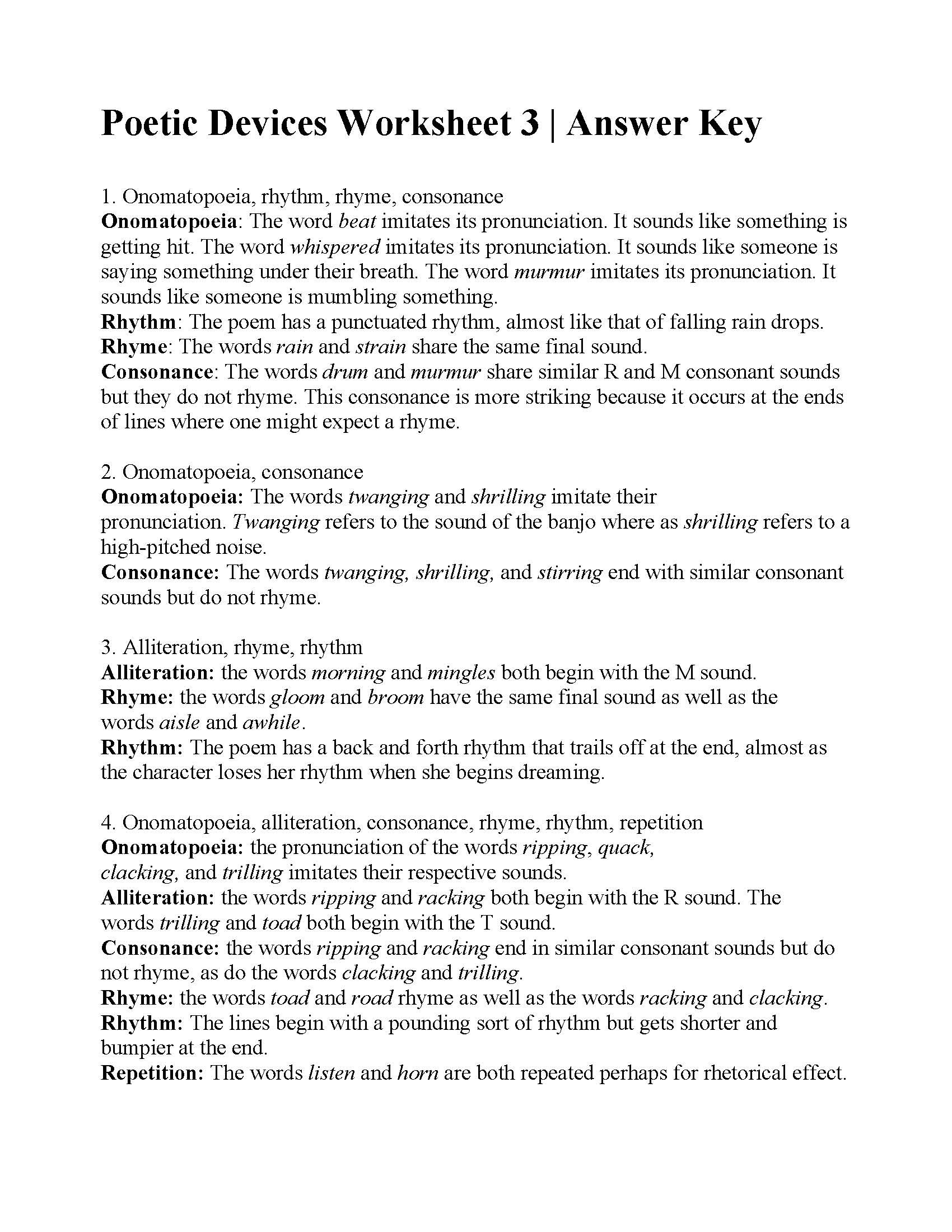 Sound Devices In Poetry Worksheet Poetic Devices Worksheet 3