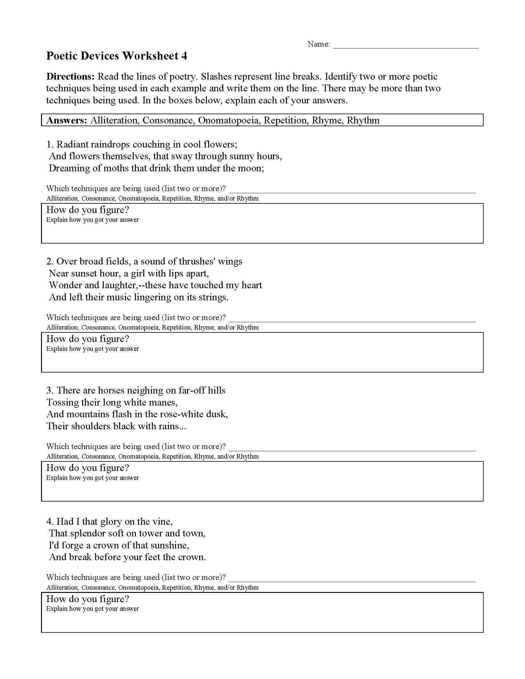 Sound Devices In Poetry Worksheet Poetic Devices Worksheet 4