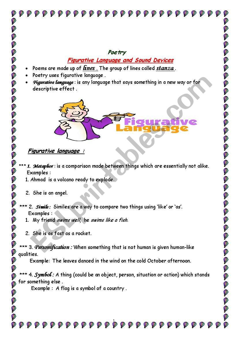 Sound Devices In Poetry Worksheet Poetry Skills Figurative Language sound Devices Esl