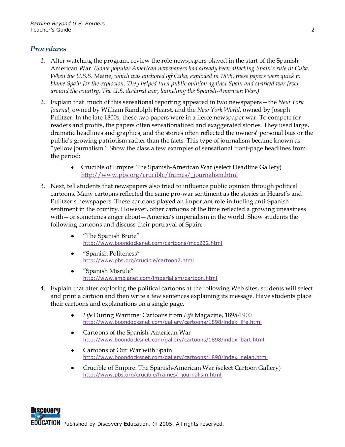 Spanish American War Worksheet Battling Beyond U S Borders Discovery Education Pages 1