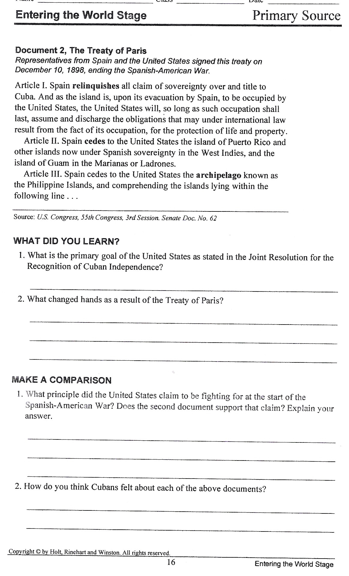 Spanish American War Worksheet Bryan Scott Boyd County High School 9 12