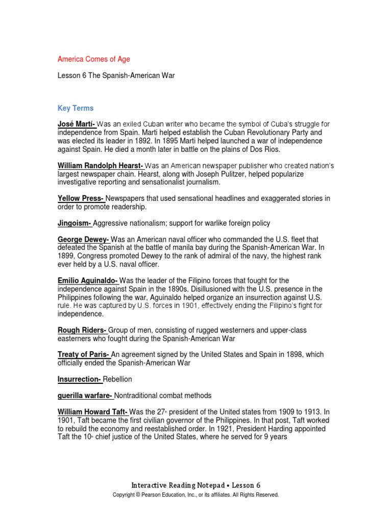 Spanish American War Worksheet Guided Reading topic 4 Lesson 6cx