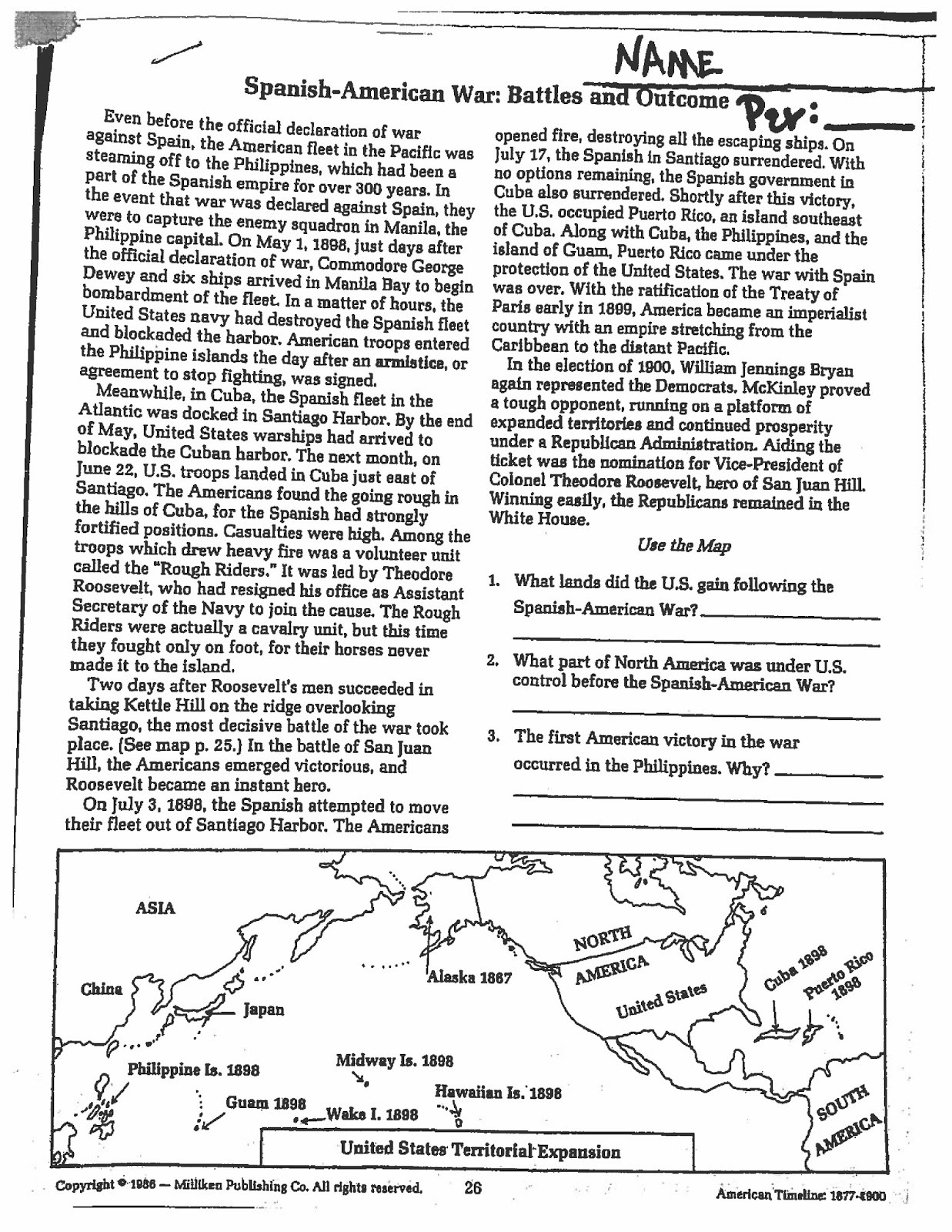 Spanish American War Worksheet Mr E S U S History Page Unit 5 Imperialism and Expansion