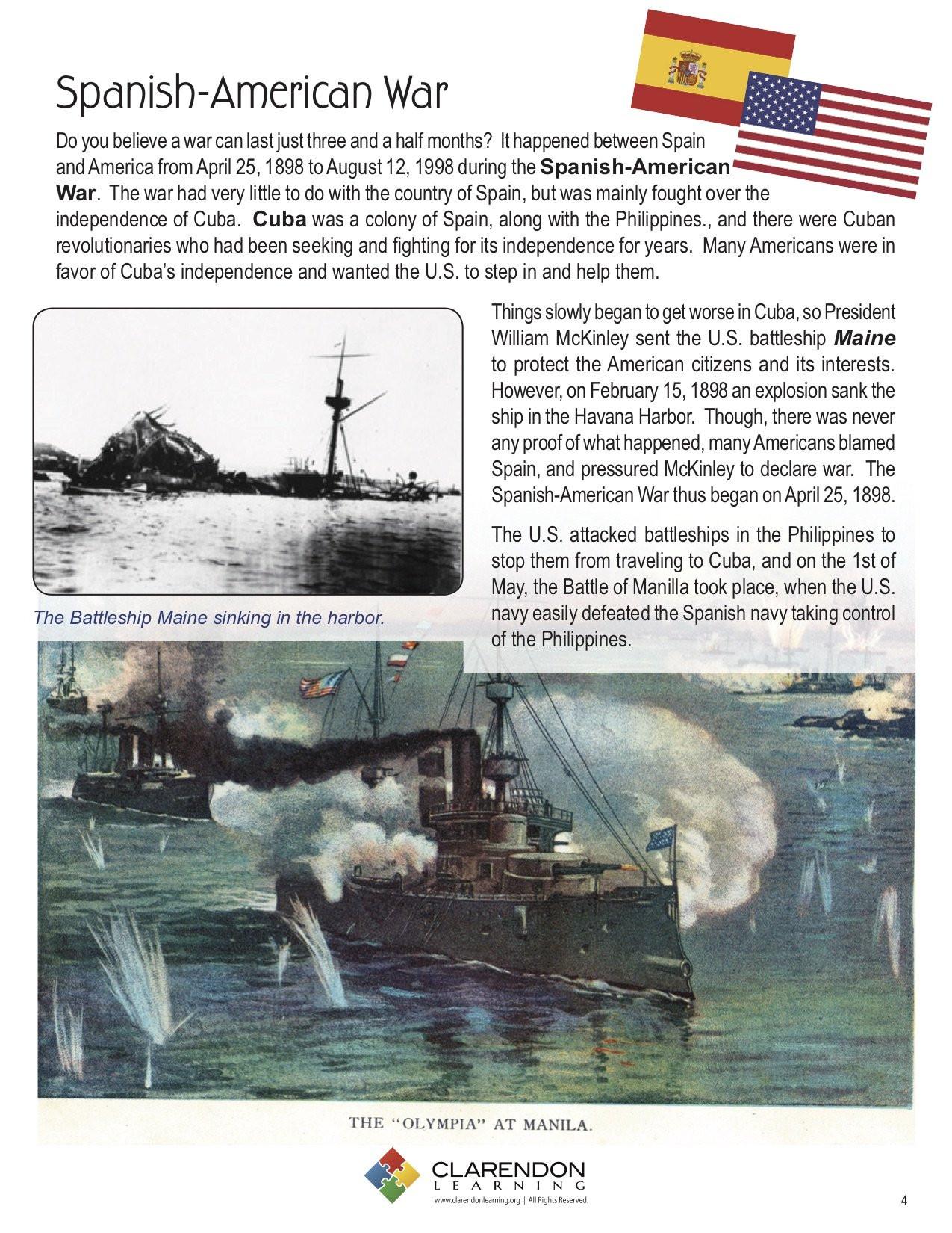 Spanish American War Worksheet Spanish American War