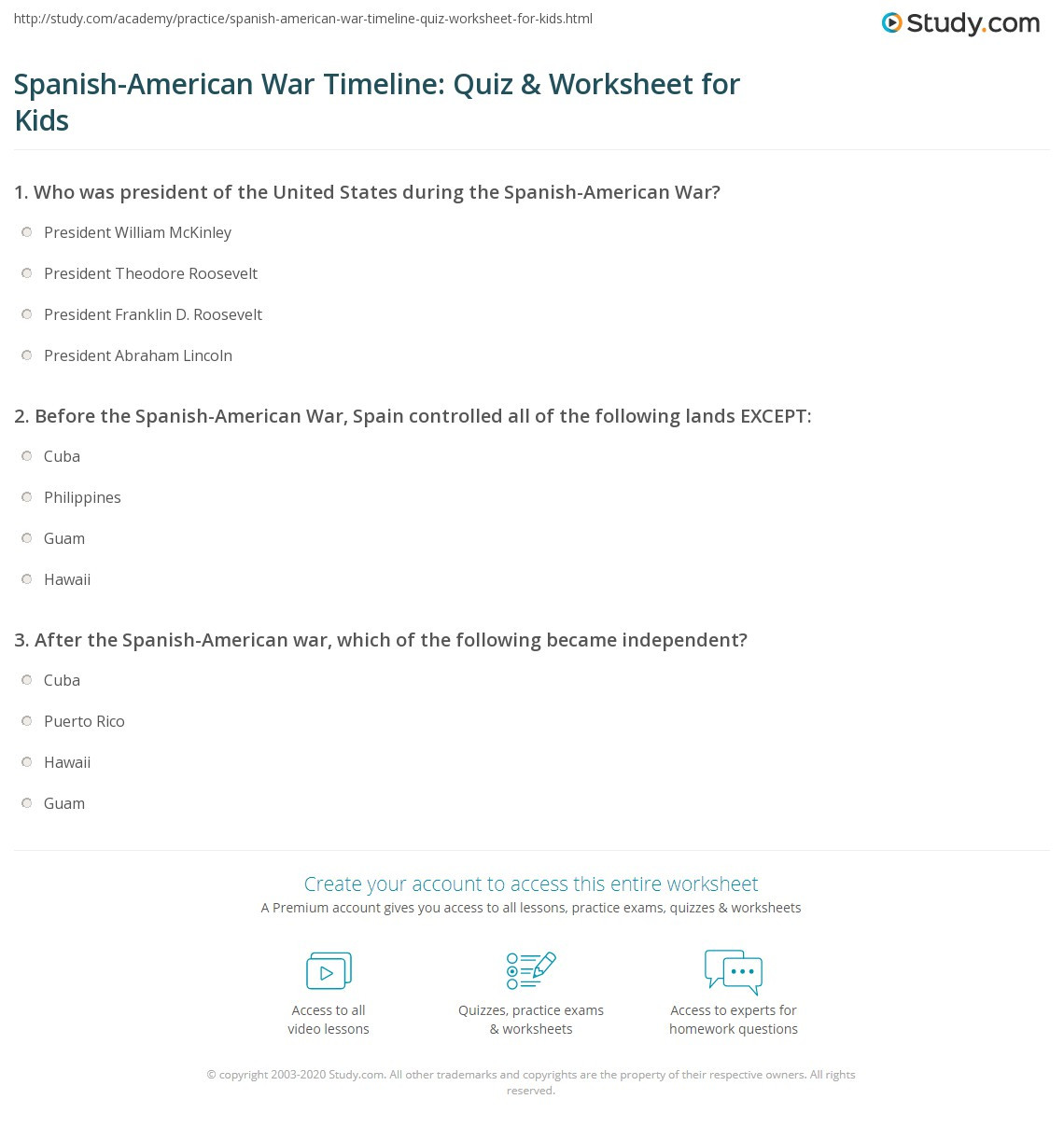 Spanish American War Worksheet Spanish American War Timeline Quiz & Worksheet for Kids
