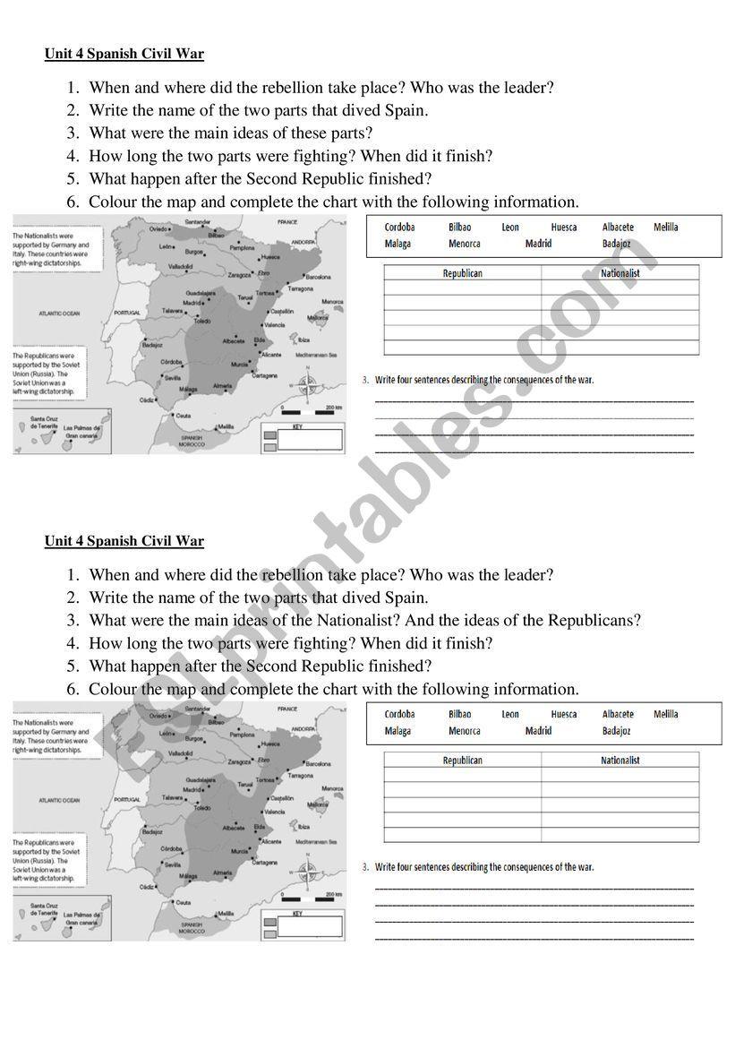 Spanish American War Worksheet Spanish Civil War Esl Worksheet by Sergioper