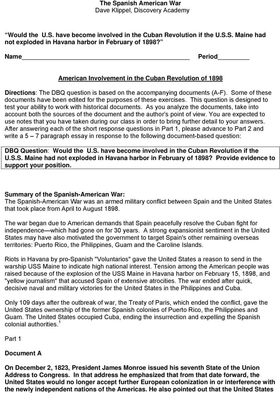 Spanish American War Worksheet the Spanish American War Dave Klippel Discovery Academy