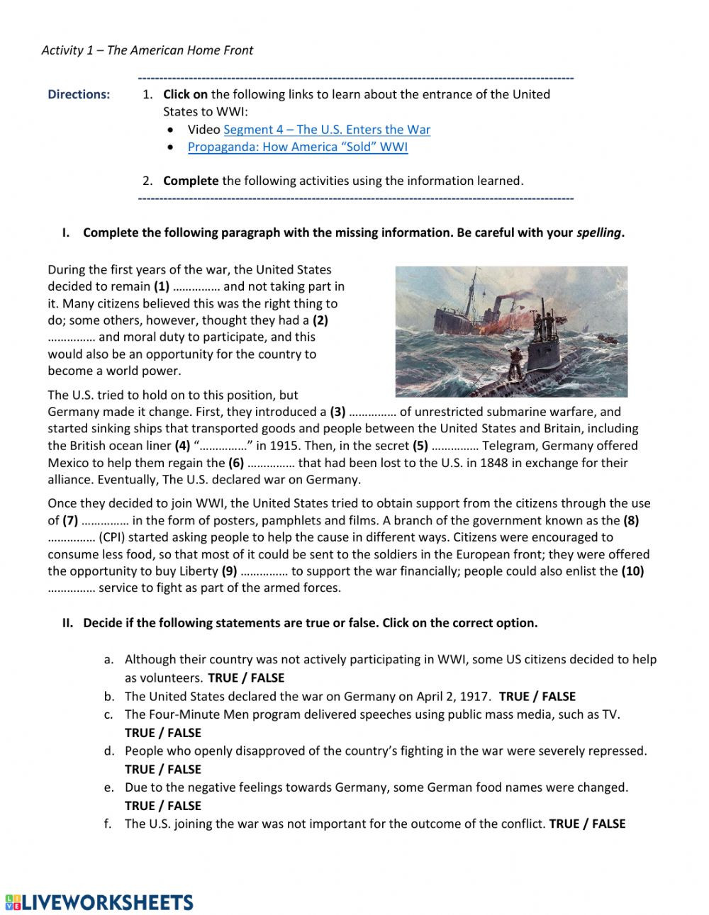Spanish American War Worksheet Wwi the American Home Front Interactive Worksheet