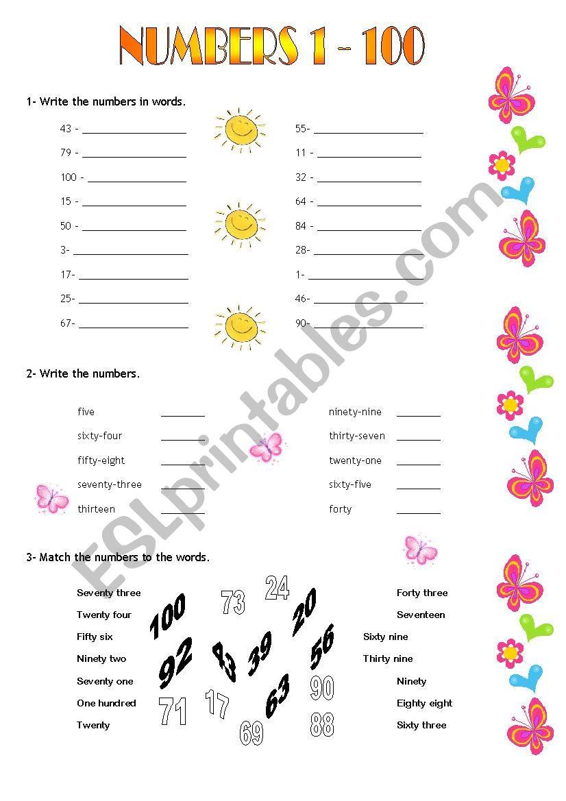 Spanish Numbers Worksheet 1 100 Numbers 1 100 Esl Worksheet by Romhy