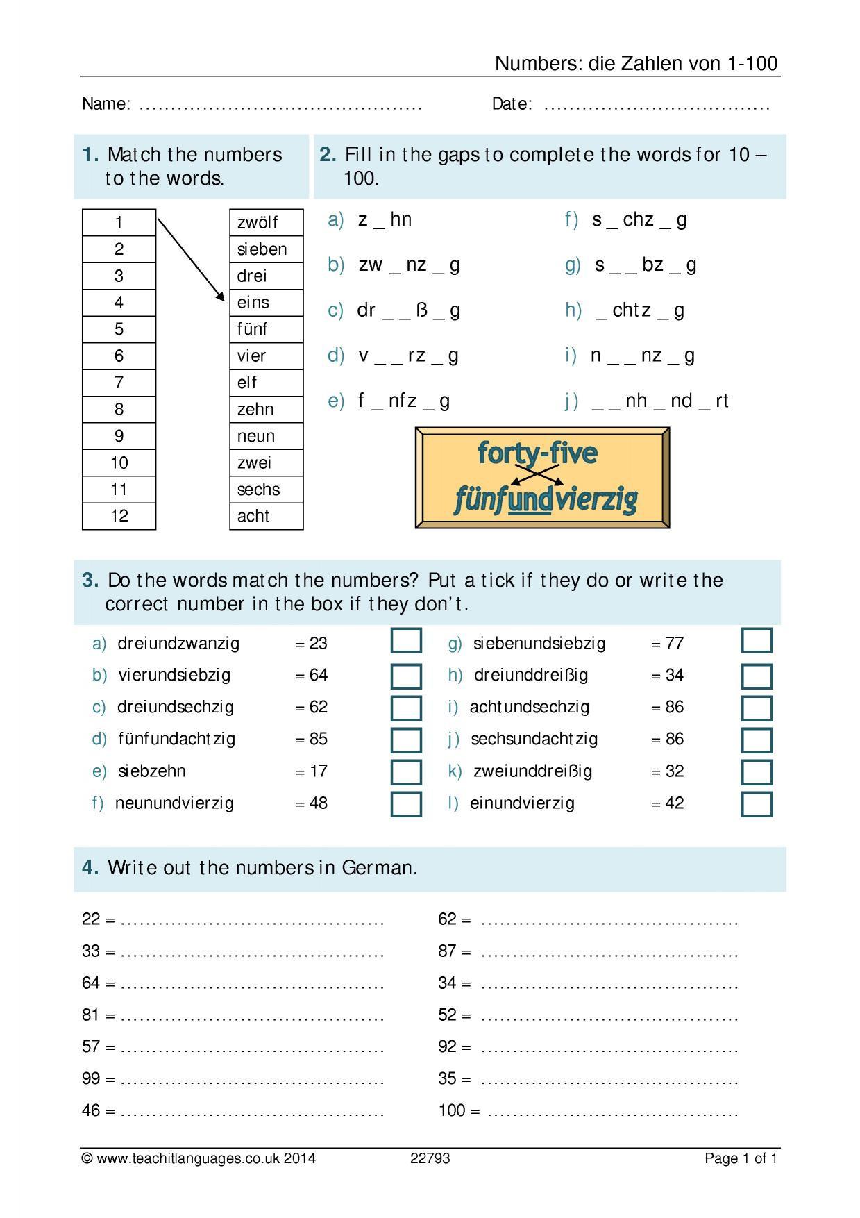 Spanish Numbers Worksheet 1 100 Numbers Zahlen Von 1 100