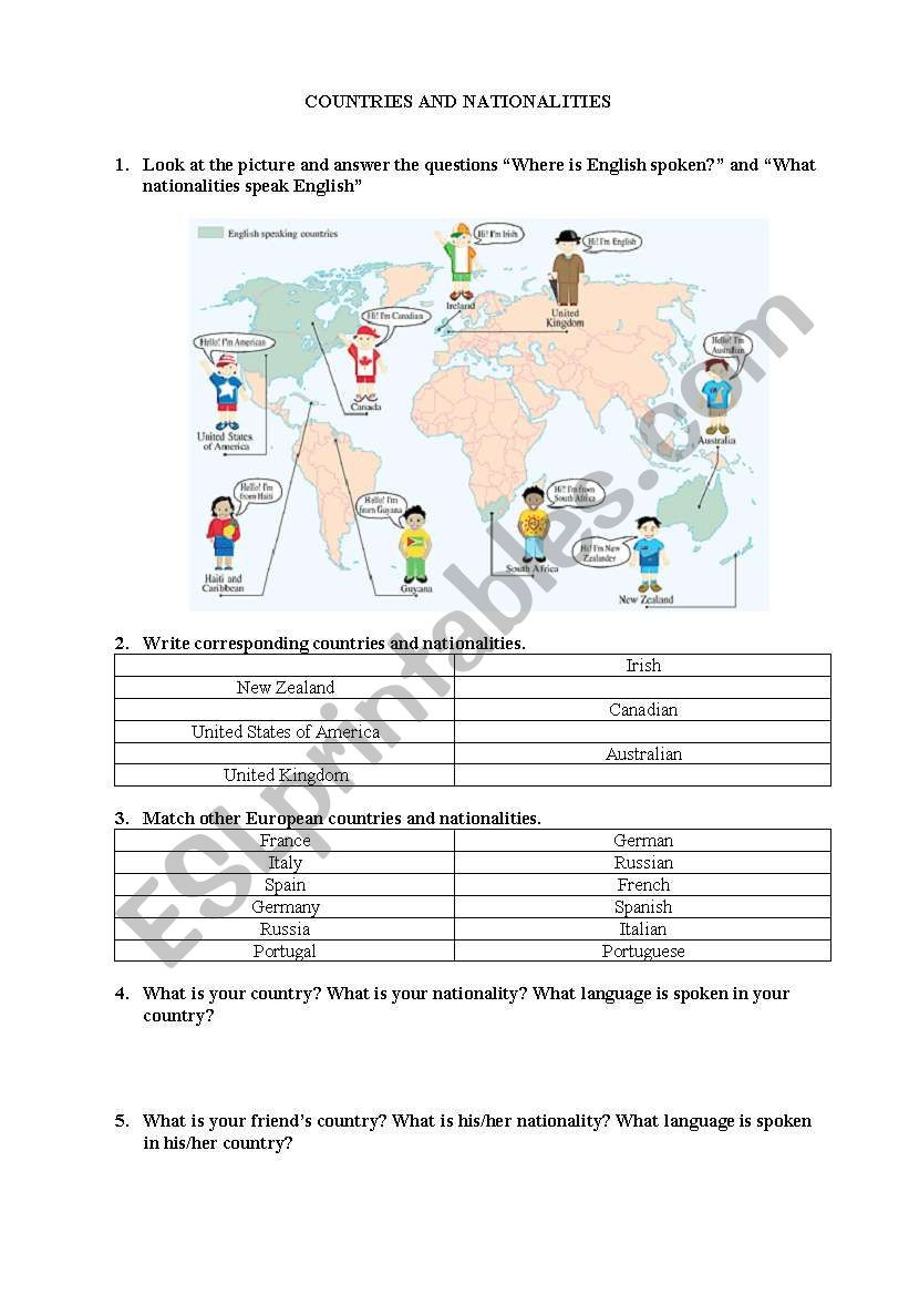 Spanish Speaking Countries Map Worksheet Countries and Nationalities Esl Worksheet by Verainfashion