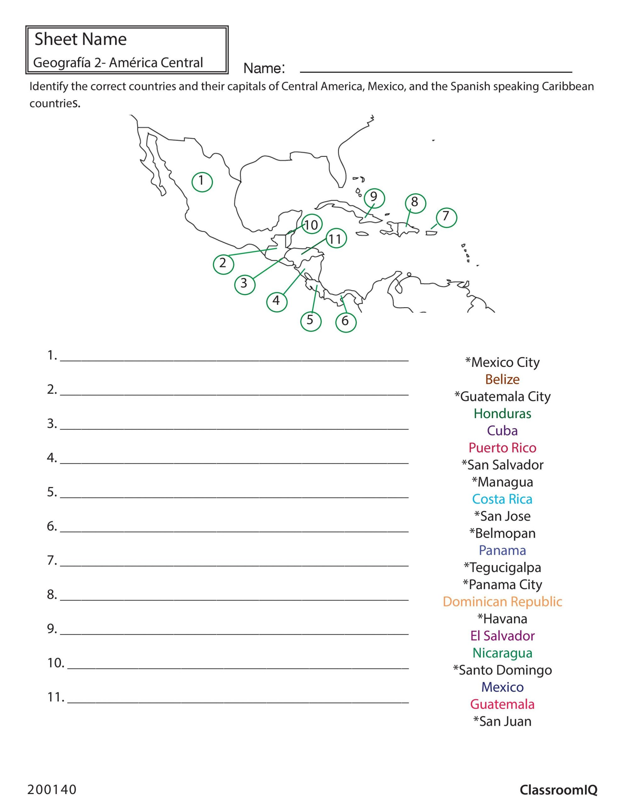Spanish Speaking Countries Map Worksheet Identify Countries and Capitals Spanishworksheet