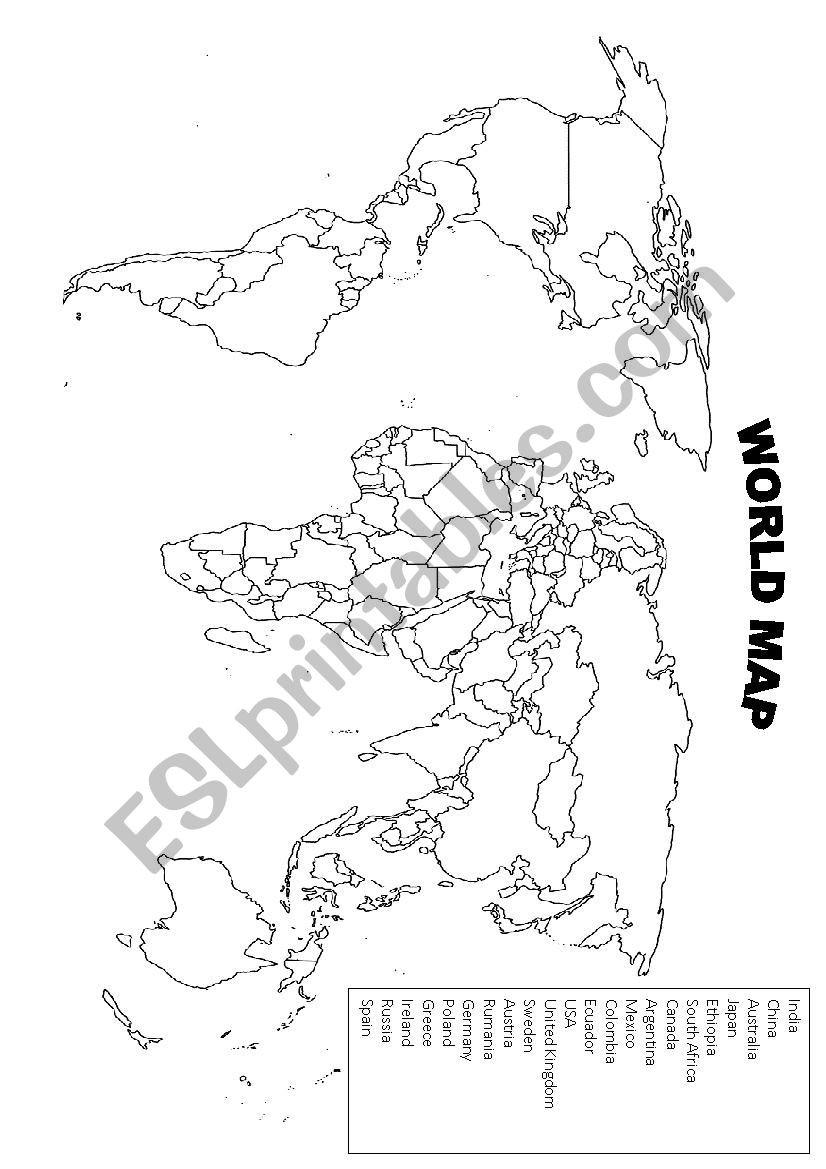 Spanish Speaking Countries Map Worksheet World Map Esl Worksheet by Kala 0