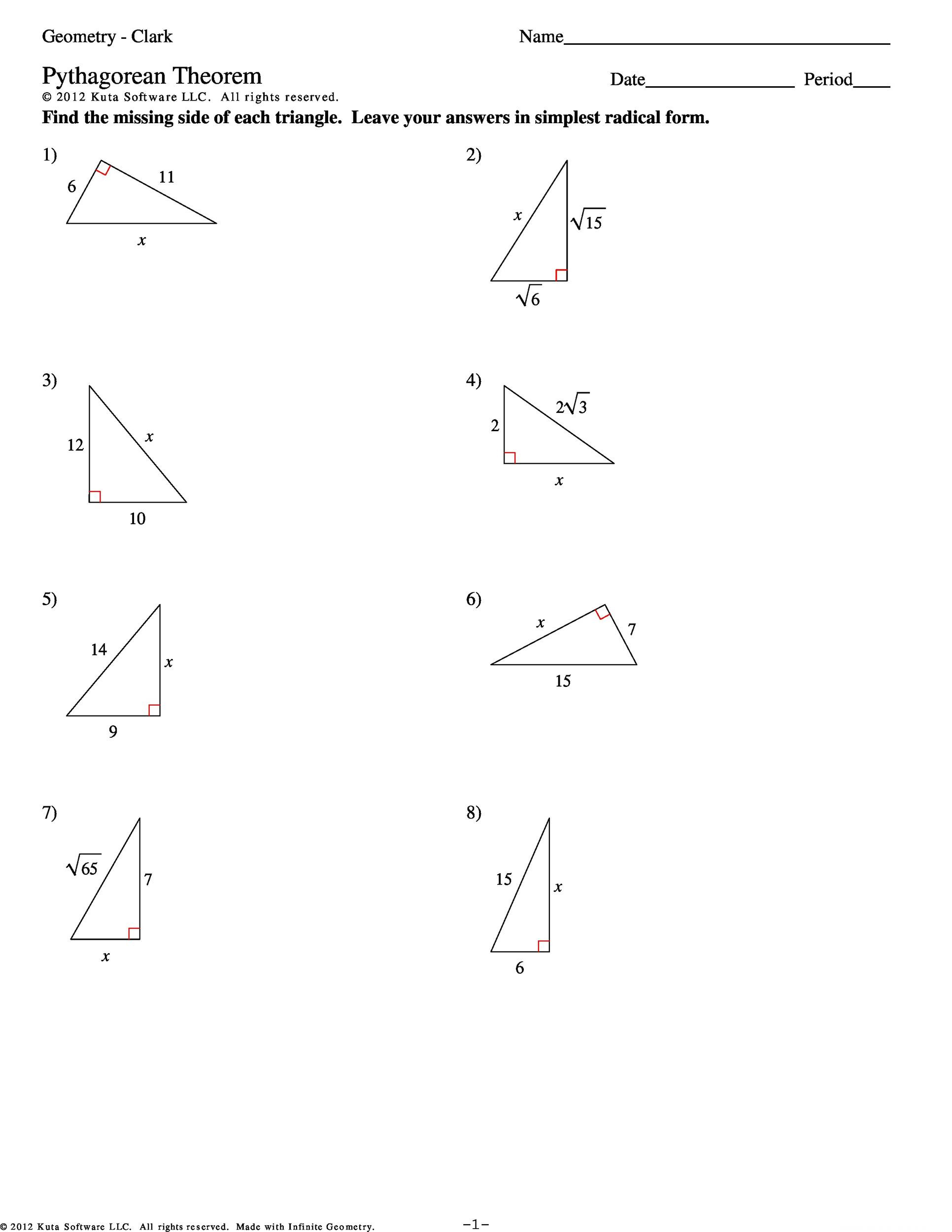 Special Right Triangles Practice Worksheet 48 Pythagorean theorem Worksheet with Answers [word Pdf]