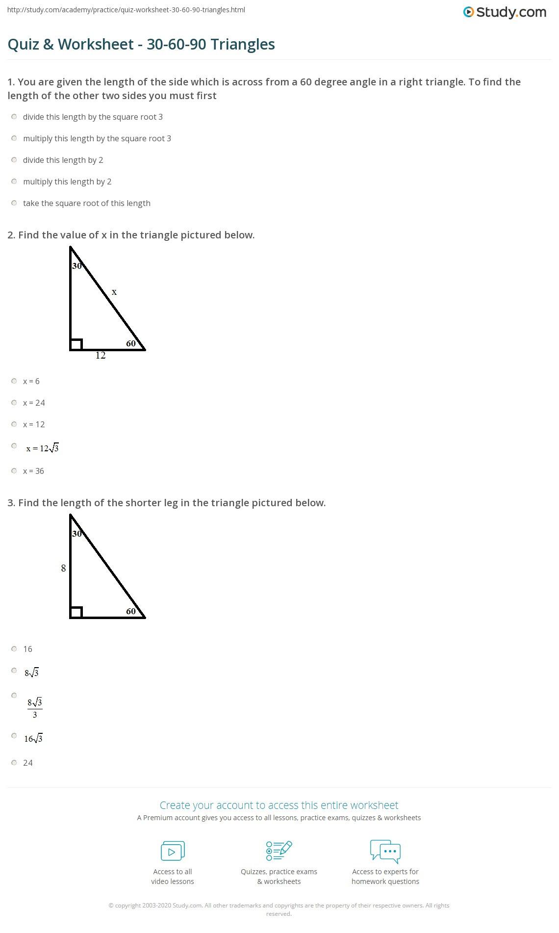 Special Right Triangles Practice Worksheet 61 Practice Worksheet Law Sines Aas asa