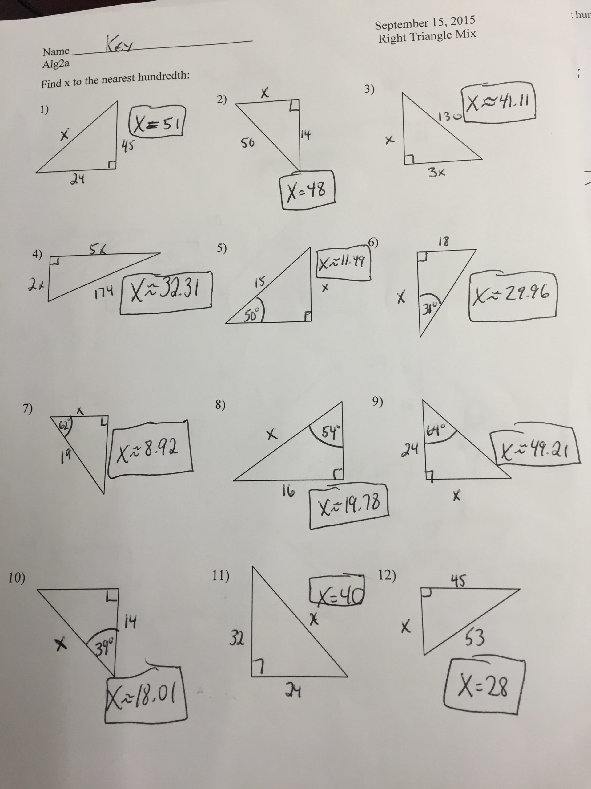 Special Right Triangles Practice Worksheet Special Right Triangles Worksheet Chapter 8