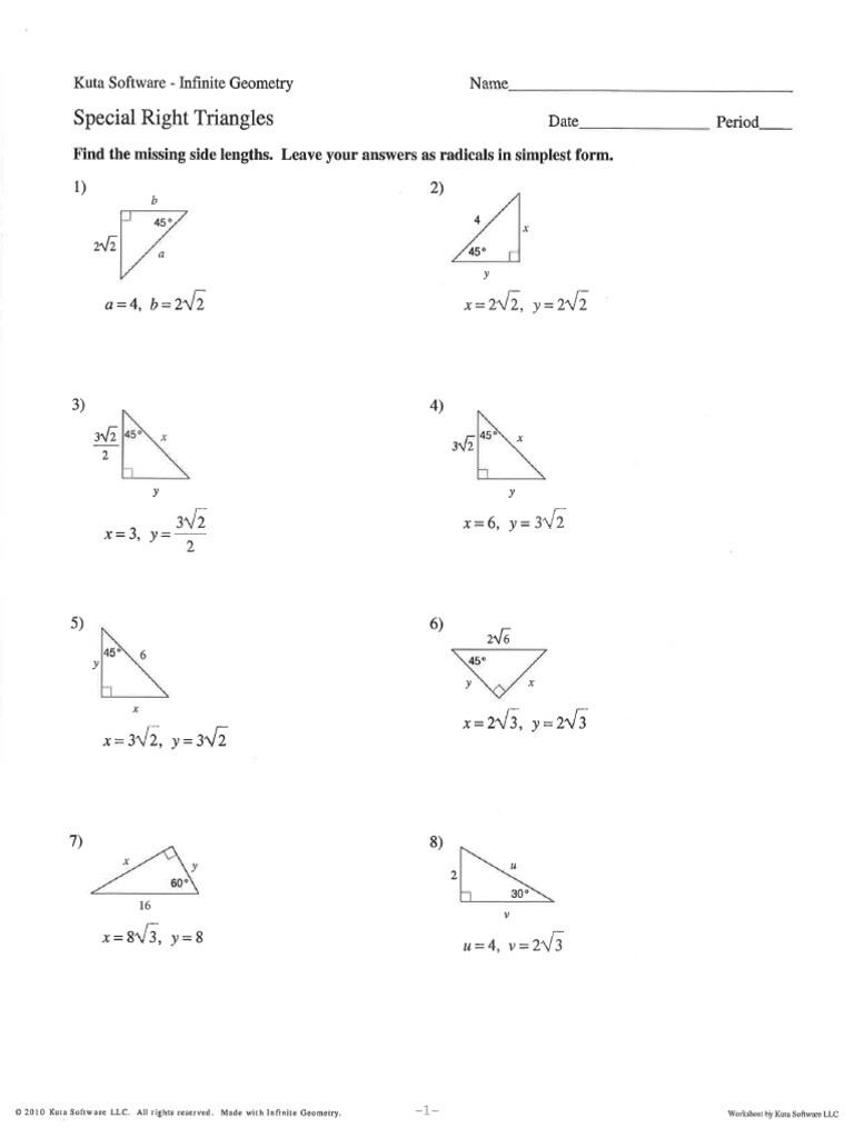 Special Right Triangles Practice Worksheet Special Right Triangles Ws Answers