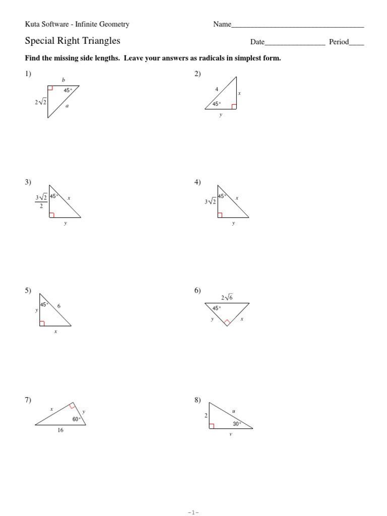 Special Right Triangles Practice Worksheet Special Right Triangles2 Classical Geometry Geometric Kuta